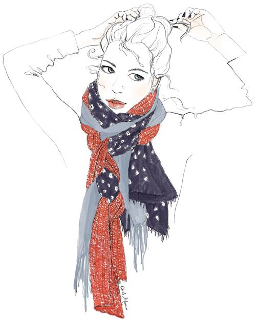 mix à partir d'un foulard traditionnel japonnais en soie + un foulard H&M empruntés à l'Homme et d'une vieille et maigrelette écharpe en laine la redoute