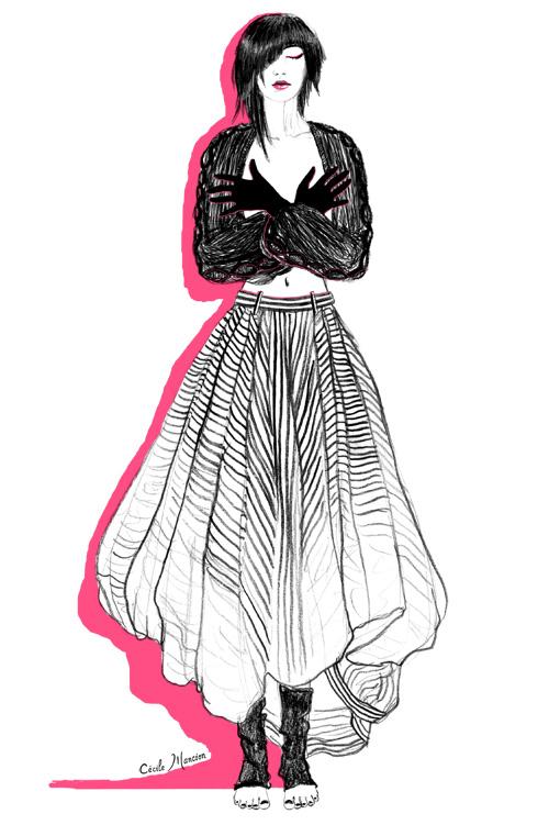 Jupe, manches et chaussettes : Limi Feu